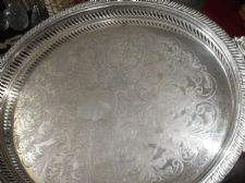 LARGE CHASED SILVER PLATED TRAY LATTICE GALLERY ORNATE SHELL HANDLES 20.5""